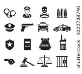 police icons set. vector... | Shutterstock .eps vector #1022738740