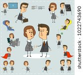 set of office workers icons of... | Shutterstock .eps vector #1022743690