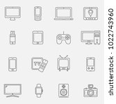devices and technology icons... | Shutterstock .eps vector #1022743960