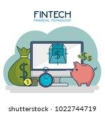 fintech investment financial...   Shutterstock .eps vector #1022744719