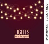 set of glowing string lights on ...   Shutterstock .eps vector #1022745829