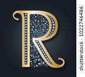 letter logo r. vector. golden... | Shutterstock .eps vector #1022746486