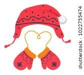 mittens and hat vector... | Shutterstock .eps vector #1022755474