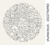 social media line icons circle. ... | Shutterstock .eps vector #1022756983