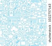 social network white line... | Shutterstock .eps vector #1022757163