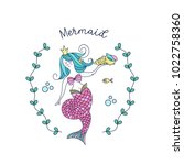 mermaid  mythological creature. ... | Shutterstock .eps vector #1022758360