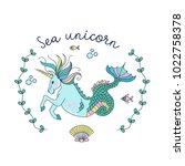mythological creature. the sea... | Shutterstock .eps vector #1022758378