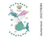 mythological creature. sea king ... | Shutterstock .eps vector #1022758384