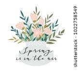 romantic pink peony bouquet in... | Shutterstock .eps vector #1022758549
