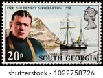 Small photo of LUGA, RUSSIA - FEBRUARY 08, 2018: A stamp printed by SOUTH GEORGIA shows image portrait of Sir Ernest Shackleton - a polar explorer who led three British expeditions to Antarctic, circa 1972
