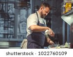 young chef cooking iin the... | Shutterstock . vector #1022760109