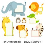 set of cute african animal memo ... | Shutterstock .eps vector #1022760994
