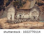 remains of old ruined church ... | Shutterstock . vector #1022770114
