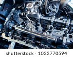 the powerful engine of a car.... | Shutterstock . vector #1022770594