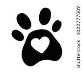 dog footprint with heart | Shutterstock .eps vector #1022777509