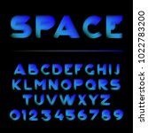 vector shape layered font.... | Shutterstock .eps vector #1022783200