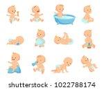 infant newborn baby big set in... | Shutterstock .eps vector #1022788174