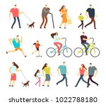 active people walking  riding... | Shutterstock .eps vector #1022788180