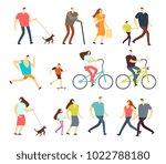 active people walking  riding... | Shutterstock .eps vector #1022788180