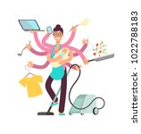 super busy mother working and... | Shutterstock .eps vector #1022788183