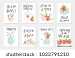 spring card set  hand drawn... | Shutterstock .eps vector #1022791210