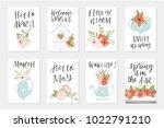 spring card set  hand drawn...   Shutterstock .eps vector #1022791210