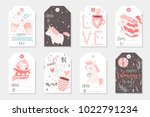 set of 8 cute ready to use gift ... | Shutterstock .eps vector #1022791234