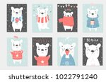 set of 8 cute ready to use gift ... | Shutterstock .eps vector #1022791240