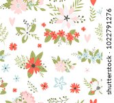 vector floral pattern in doodle ...   Shutterstock .eps vector #1022791276