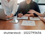 start up partners are working... | Shutterstock . vector #1022795656