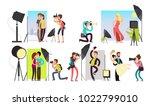 photographers taking photo... | Shutterstock .eps vector #1022799010