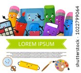 cute cartoon stationery banner... | Shutterstock .eps vector #1022799064