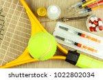 tennis racket and ball.... | Shutterstock . vector #1022802034