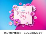 happy womens day floral... | Shutterstock .eps vector #1022802319