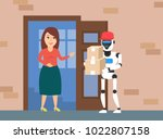 delivery robot courier with... | Shutterstock .eps vector #1022807158