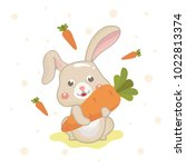funny and cute rabbit holding... | Shutterstock .eps vector #1022813374