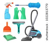set of cleaning tools rubber... | Shutterstock .eps vector #1022813770