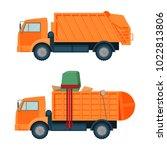 Long Orange Dumpster Truck Wit...