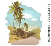 road and jungle with palm trees ... | Shutterstock .eps vector #1022816548