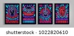 rock festival set of posters in ... | Shutterstock .eps vector #1022820610