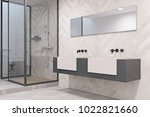 double sink on a massive gray... | Shutterstock . vector #1022821660