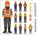 set of builder worker man in... | Shutterstock .eps vector #1022823379