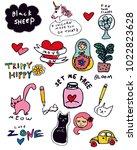 cute handwritten doodles... | Shutterstock .eps vector #1022823628