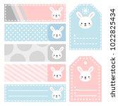 cute bunny note sticker  note... | Shutterstock .eps vector #1022825434