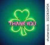 thank you with clover glowing... | Shutterstock .eps vector #1022826934