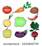 vector vegetables logo. set.... | Shutterstock .eps vector #1022830759