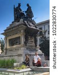 Small photo of GRANADA, SPAIN - MARCH 25, 2016: Monument to Isabella The Catholic and Chrispher Columbus