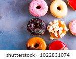 sweet doughnuts top view border ...   Shutterstock . vector #1022831074