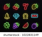 Slot machine bright neon vector symbols. Casino light gambling icons. Illustration of icons casino game neon, fortune and gambling - stock vector