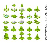 isometric 3d nature elements.... | Shutterstock .eps vector #1022831230